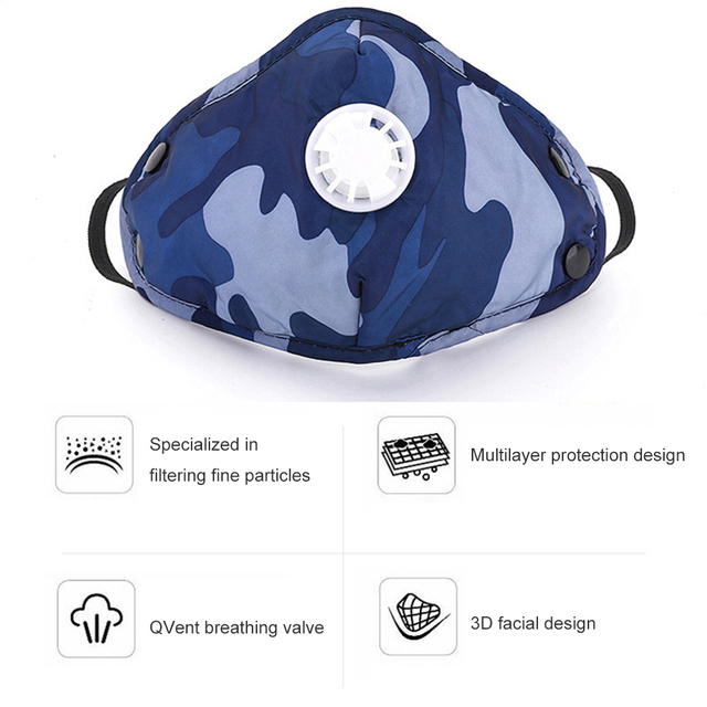 Camouflage Cotton PM2.5 Mouth Mask Anti Dust Masker Activated Carbon Filter Windproof Mouth-muffle Bacteria Proof Flu Face Masks 5
