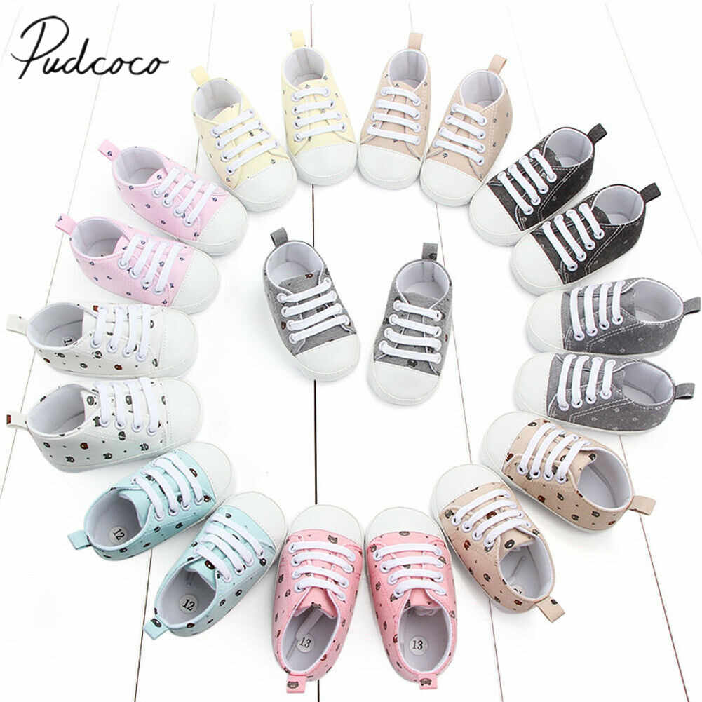 2019 Baby First Walkers Newborn Infant Baby Girl Casual Soft Sole Prewalker Cotton Warm Cartoon Bears Canvas Shoes 0-18M