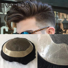 Men Toupee Hair-Unit Wig Human-Hair EVASFOS Capillary-Prosthesis Male Natural Men's Fine
