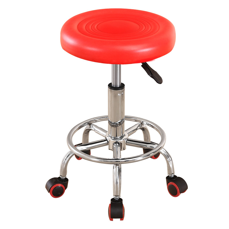 Durable PU Bar Chair Lift Beauty Chair 360 Degree Rotation Barber Chair With Safety Pneumatic Rod High Strength Nylon Wheel