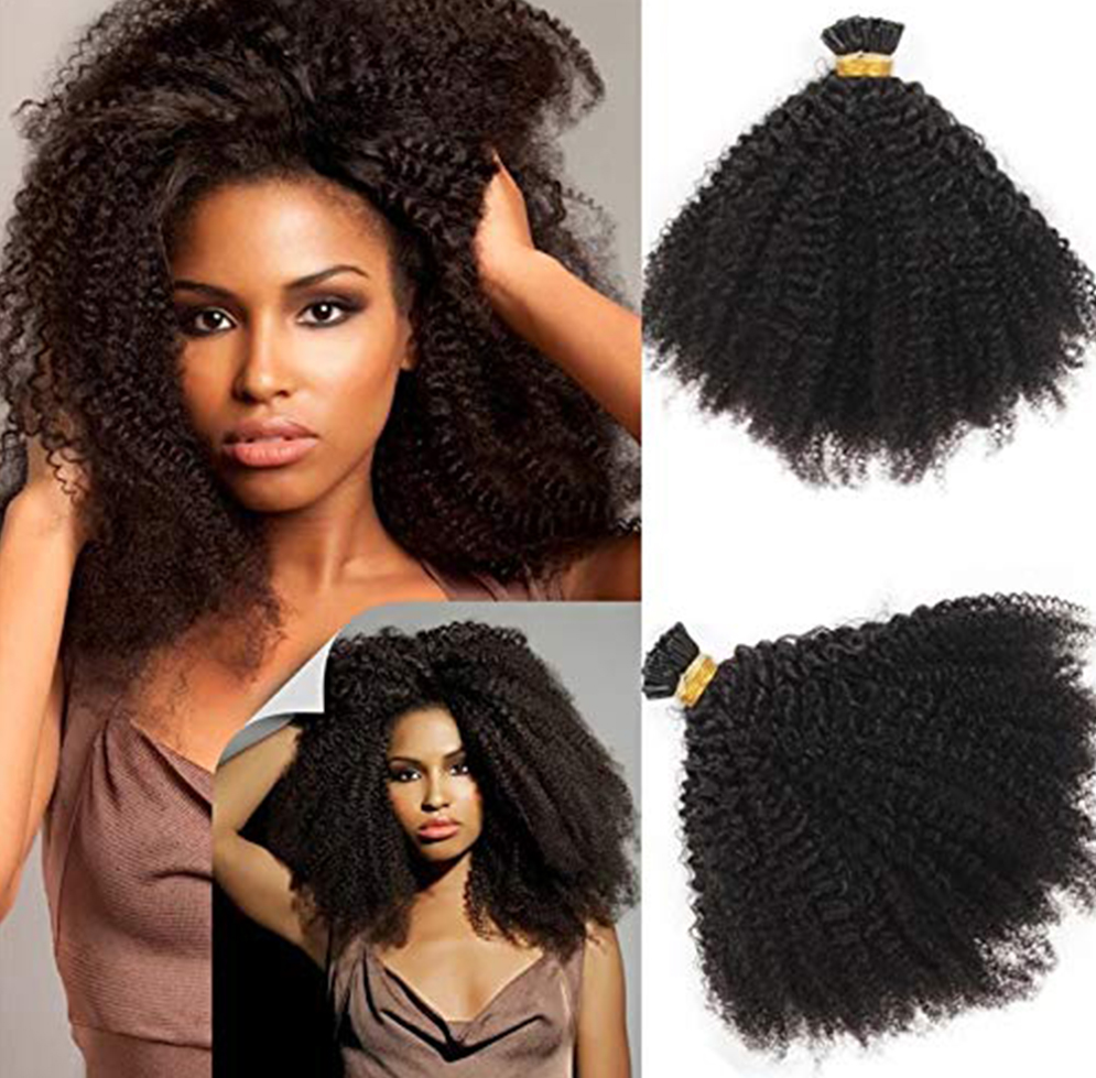 Eseewigs Human Hair Afro Kinky Curly 4B 4C I Tips Brazilian Remy Human Hair Extensions Hair Bulk Knots Black Color For Women