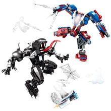 671pcs Marvel Avengers Super Heroes Spiderman Spider Man Vs Venom Mech Building Blocks Brick Toy