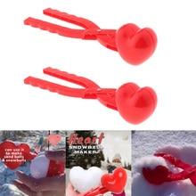 2x сердце форма снег мяч чайник дети дети открытый снежок песок плесень игрушки