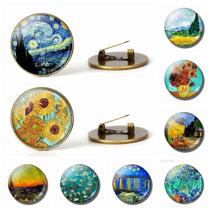 Retro Van Gogh Art Starry Night Sunflower Brooches Men Women Glass Cabochon Dome Jewelry School Bag Bronze Brooch Pins Gift