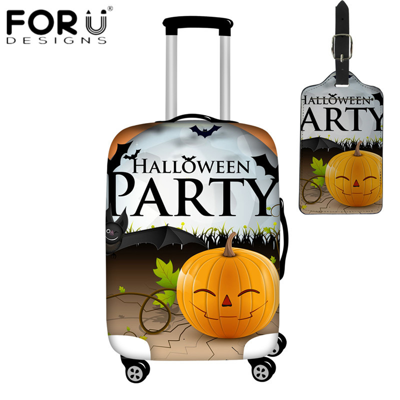FORUDESIGNS Halloween Party Design Travel Luggage Covers 2pcs/set Suitcase Protective Covers With PU Luggage Tag Dust Rain Cover
