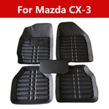 Car Floor Mats Covers Top Grade Anti Scratch 5d Waterproof For Mazda Cx-3 Leather Front&Rear Waterproof image