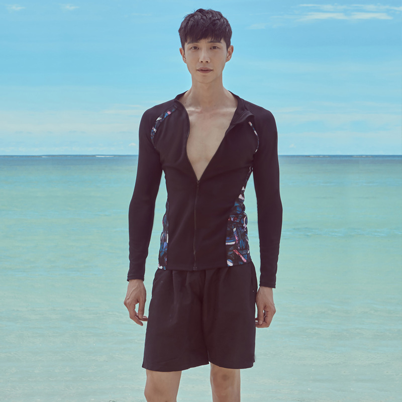 South Korea Men Split Type Long Sleeve Beach Bathing Suit Surf Wear Swimwear Men's Beach Clothing Set Sun-resistant
