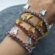 Rhinestone Butterfly Bracelets For Women Zircon Crystal Charm Bracelet Chain Female Jewelry Gifts For Friend new fashion charm bracelets for women bracelets exquisite rhinestone bracelets jewelry female