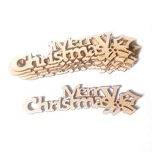 10Pcs Wood DIY Christmas Pattern Craft Accessories Natural Wooden Letters Merry Handmade Sewing Home Decoration