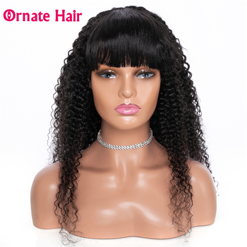 Ornate Hair Kinky Curly Wig Human Wigs With Bangs Brazilian for Black Women Full Machine Made 8-26 Inch - discount item  47% OFF Human Wigs( For Black)