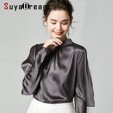 SuyaDream 2020 Spring Women Silk Blouses 16mm 100% Silk Satin Long Sleeves Stand Collar Blouse