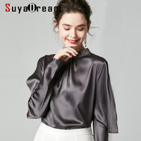 SuyaDream 2020 Spring Women Silk Blouses 16mm 100% Silk Satin Long Sleeves Stand Collar Blouse Shirt