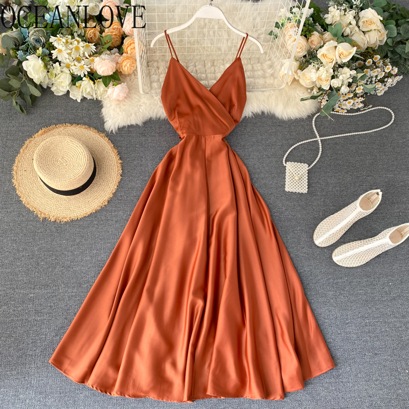OCEANLOVE Elegant Solid Party Dress High Waist Sexy Backless Vestidos 2020 Elegant Beach Style Summer Dresses Vintage 15905
