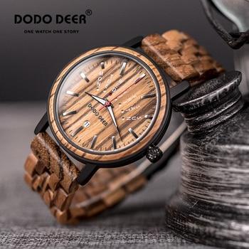 Reloj de madera con diseño de ciervo para hombre, reloj con calendario semanal, pantalla luminosa, resistente al agua, moderno reloj de lujo, envío directo