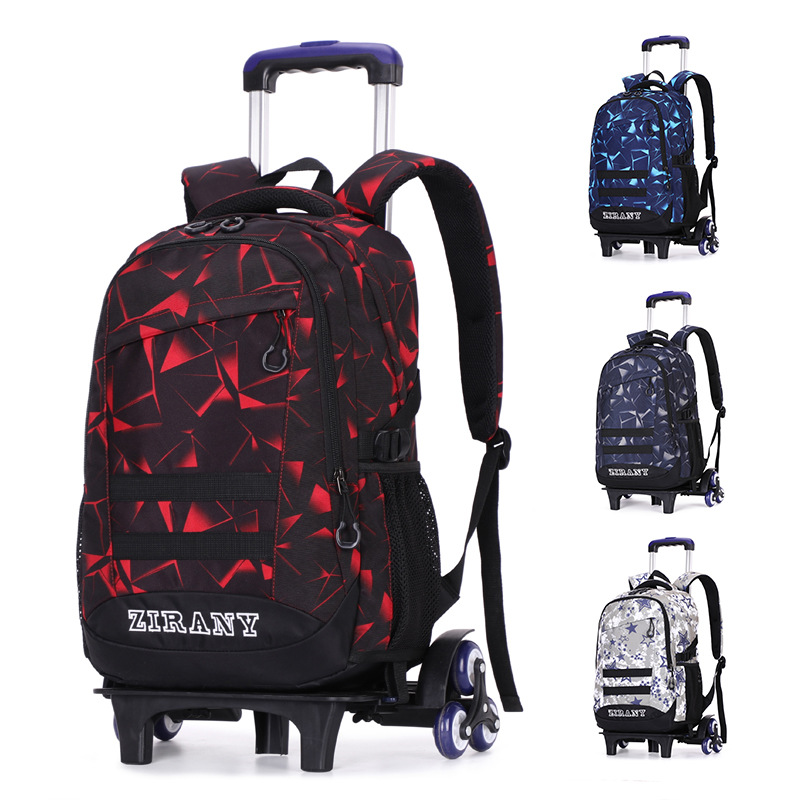 Natural Fish Korean-style Middle School Students Trolley Bag Climbing Stairs Six-Wheeled Deconstructable Dual Purpose Backpack M