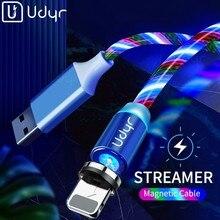 Cabo magnético de led udyr para carregamento rápido, fio micro usb tipo c para iphone, samsung, xiaomi cabo usb usb