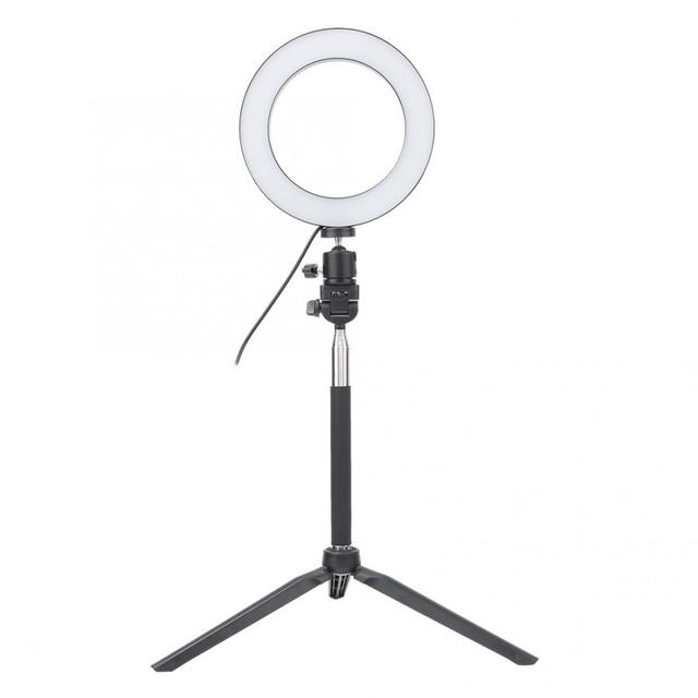6 Inch USB Selfie Ring Light LED Fill Light Camera Phone Photography Video Makeup Lamp with Desktop Tripod and Selfie Stick Set