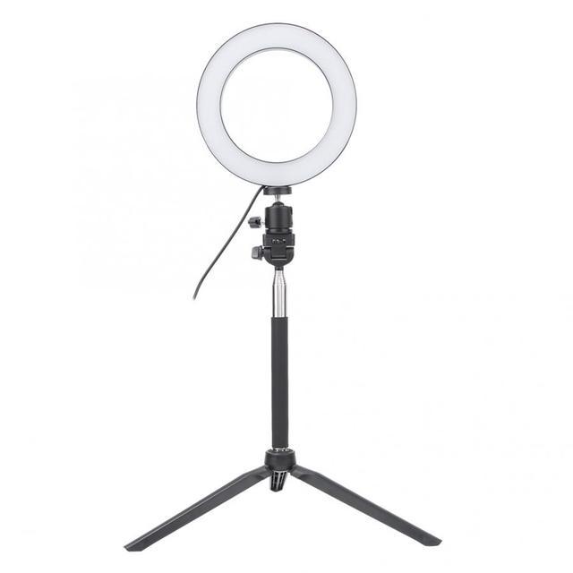 6 بوصة USB Selfie مصباح مصمم على شكل حلقة LED ملء ضوء هاتف مزود بكاميرا تصوير فيديو ماكياج مصباح مع ترايبود سطح المكتب ومجموعة Selfie عصا