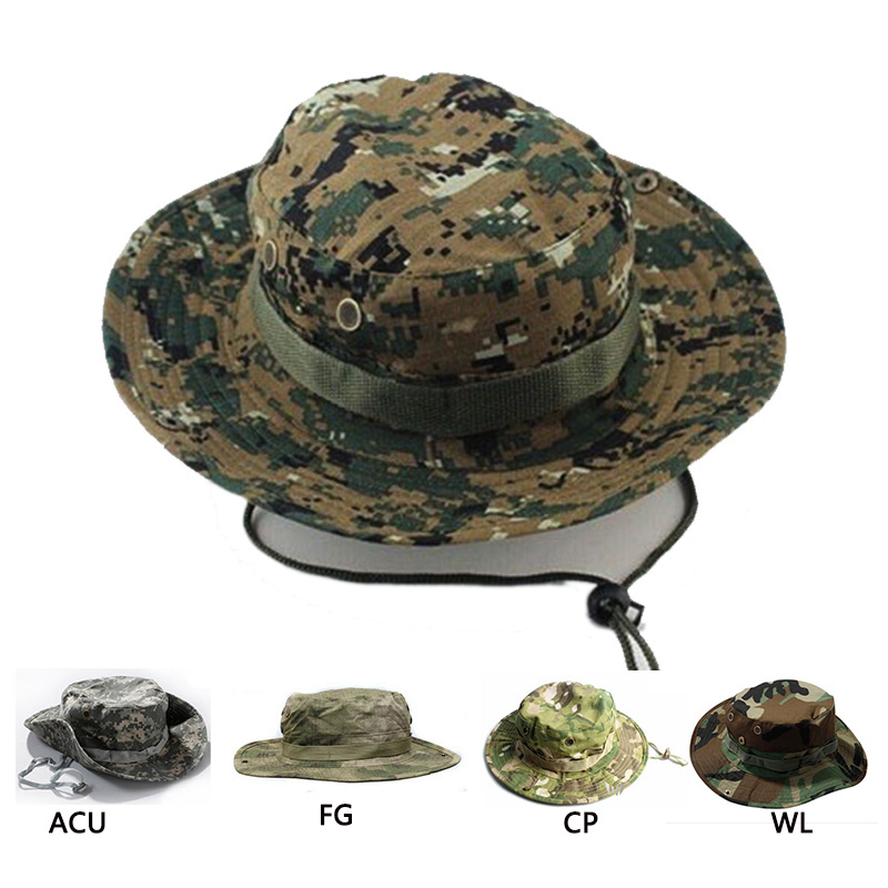 Outdoor Hiking Travel Boonie Cap Hunting Tactical Airsoft Military Camouflage Hat Camping Sun Cap Bucket Style Fisherman Hats