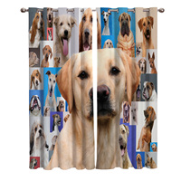 Cute Pink Yellow White Pictures Dogs Blackout Window Curtains Living Room Curtain Rod Kitchen Drapes Fabric Indoor