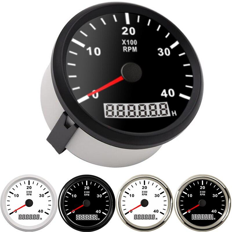 Tachymètre marin 85mm moteur heure mètre 0-4000 tr/min numérique hors-bord camion voiture bateau étanche RPM mètre tacometro auto jauge