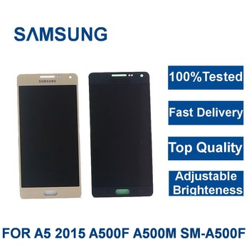 100%Tested For Samsung GalaxyA5 2015 A500 A500F A500U A500H A500M Phone LCD Display Touch Screen Digitizer brightness adjustment 100% tested aaa quality for samsung galaxy a5 2015 a500 a500f a500m replacement lcd display with touch screen digitizer assembly