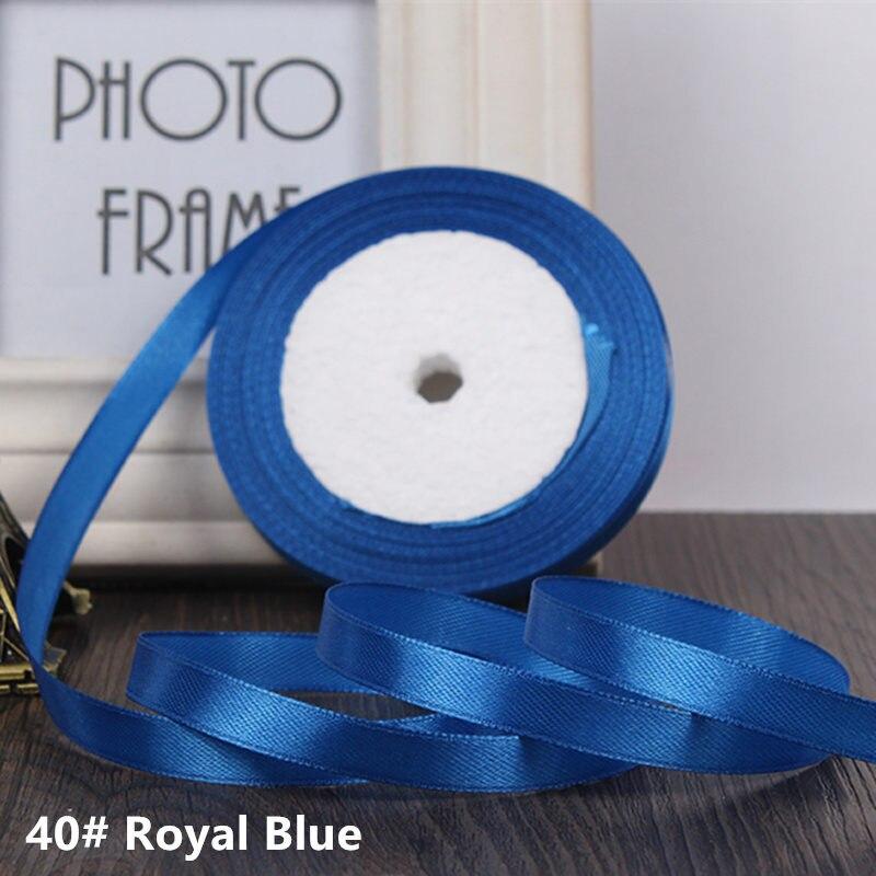 25 ярдов/рулон 6 мм 10 мм 15 мм 20 мм 25 мм 40 мм 50 мм шелковые атласные ленты для рукоделия бант ручной работы подарочная упаковка вечерние свадебные декоративные - Цвет: 40 Royal blue