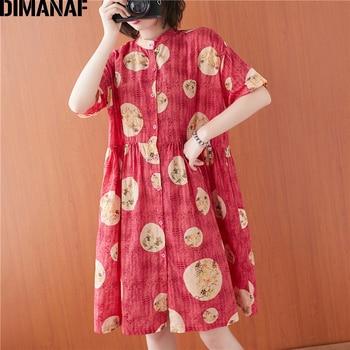 цена на DIMANAF Plus Size Summer Women Shirt Dress Sundress Lady Floral Print Vestidos Cotton Casual Loose Button Cardigan Clothing 2020