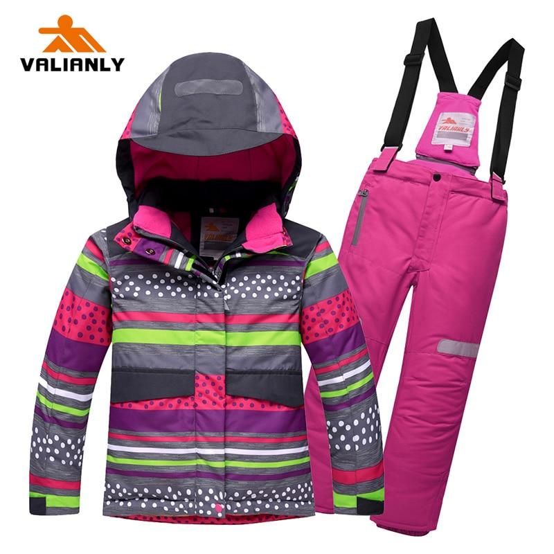 2019 Winter Kids Girls Snowsuit Ski Sets Warm Hooded Girls Ski Suit Ski Jacket Pants Outdoor Children Waterproof Snowboard Suits