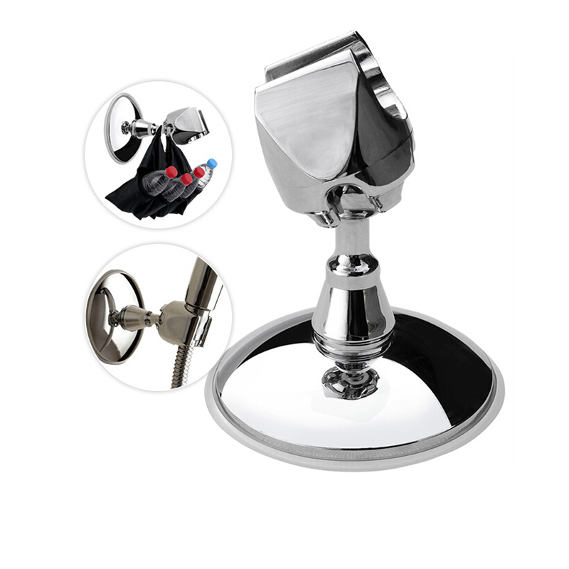 EHEH Portable Bathroom Shower head Holder Chromeplate Abs Suction Cup No Drill Shower Holder Shower Bracket