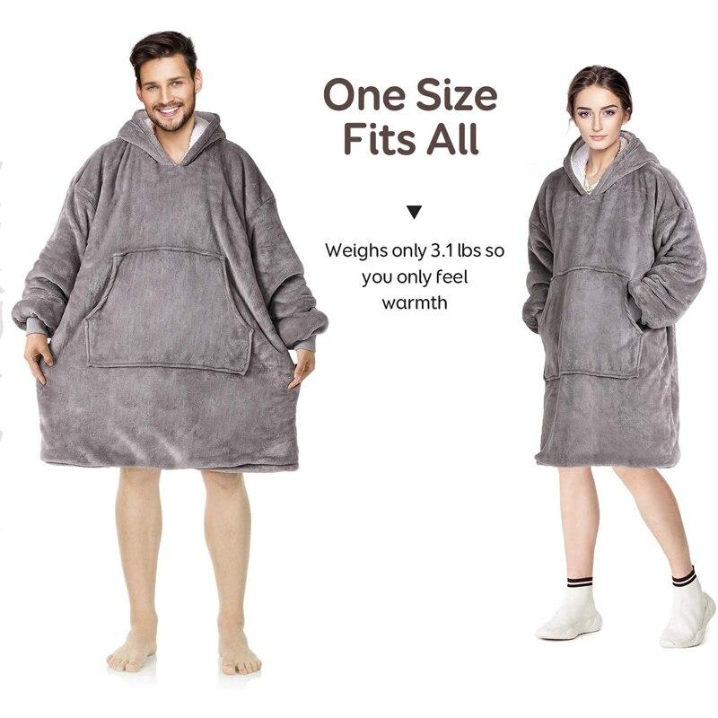Oversize Hoodie Sofa Warm TV Blankets with Pocket Outdoor Hiking Hooded Sweatshirt Blanket-3