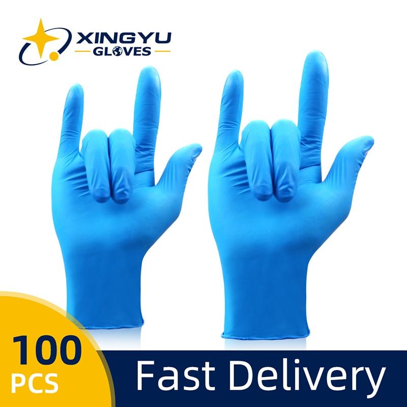 Gants en Nitrile 100 pièces Xingyu bleu de qualité alimentaire étanche maison industrielle cuisine jardin utiliser des gants de sécurité de travail jetables