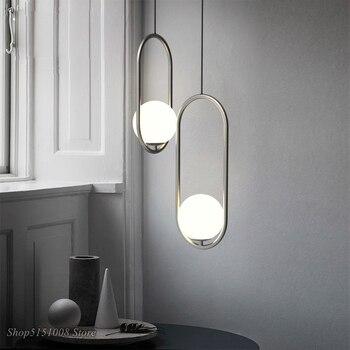 Modern Glass Ball Pendant Lights Vintage Hoop Loft Industrial Led Kitchen Hanging Lamps for Living Room Home Decor Luminaire