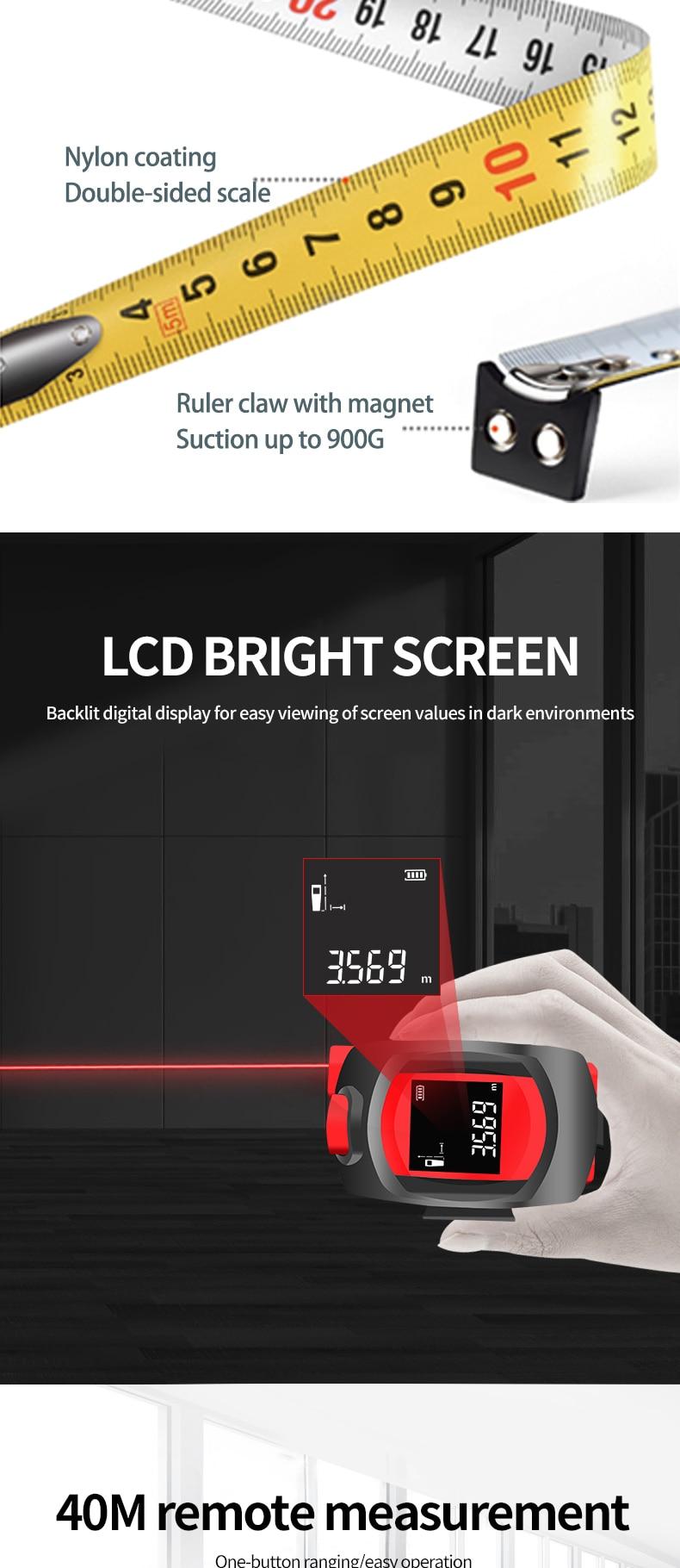 LM40T UNI-T Laser Measuring Tape Measur Digital Distance Meter Rangefinder Retractable Laser Ruler Trena a Laser Professional