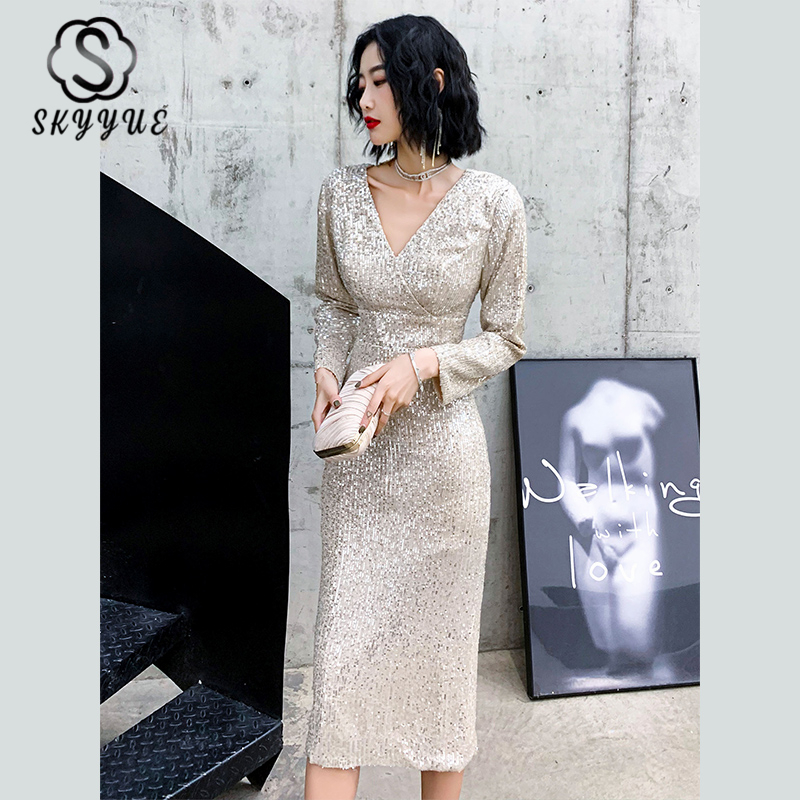 Skyyue Long Sleeved Vestidos De Gala Prom Dresses Gold Sequined Bow Prom Gowns K074 2020 Sexy Depp V-Neck Split Party Dresses