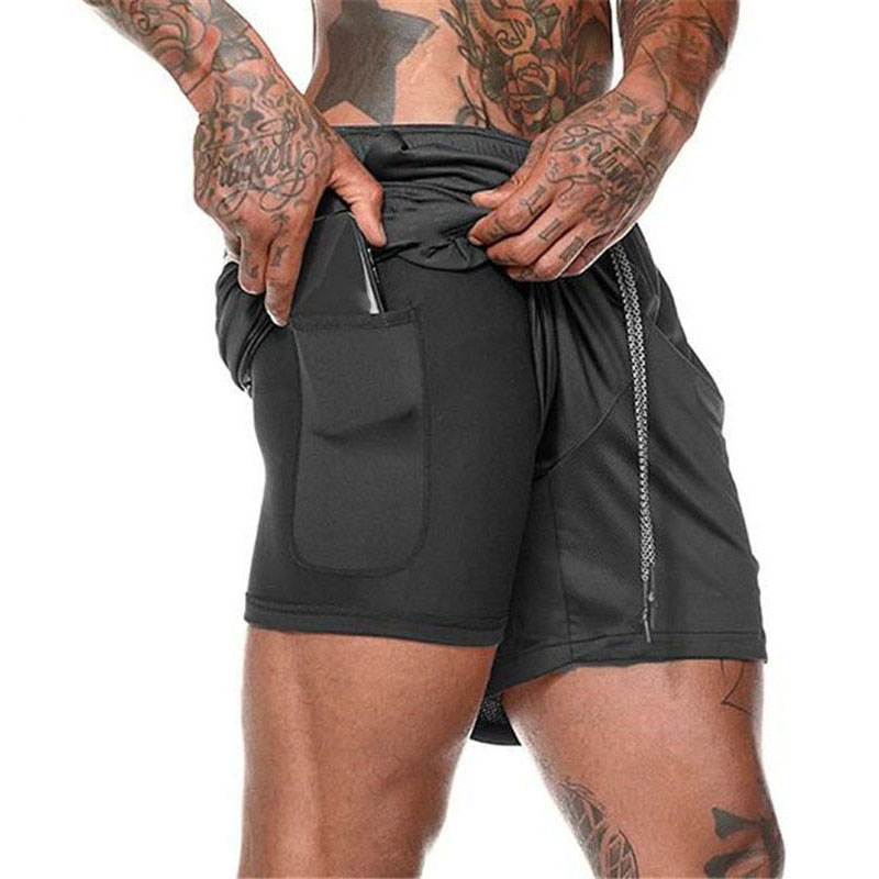 Summer Men Fitness Sporting   Shorts   Hidden Mobile Phone Inside Pockets Joggers Training   Shorts   Solid Workout Gym   Shorts   ,GA301