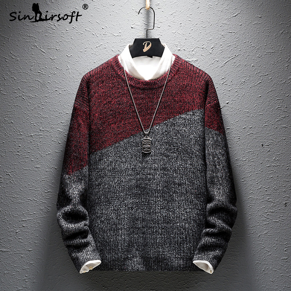 O-Neck Preppy Style Pullovers Men's Patchwork Knitted Sweater Skinny Male Casual Full-length Top Clothing 2019 Autunm Fashion