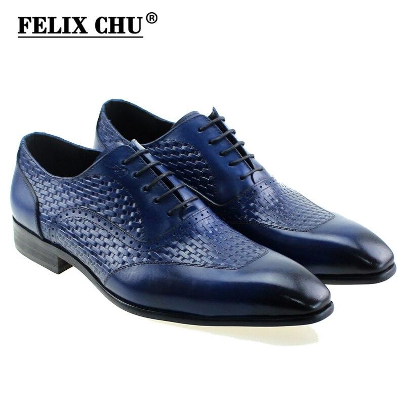 US $59.99 40% OFF|FELIX CHU Luxuriöse Italienische Echtem Leder Männer Blau Schwarz Hochzeit Oxford Schuhe Lace Up Büro Business Anzug männer kleid