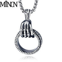 MINCN hip hop necklace punk style stainless steel European and American personality titanium mens pendant