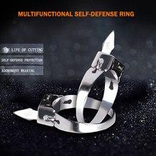 Défense personnelle en acier inoxydable, anneau d'auto-défense, ouverture multifonctionnelle réglable