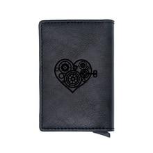 Punk Gear Heart Lock Design Credit Card Holder Wallet Classic Pu Leather  Men Women Slim Small Credit Card Short Purse