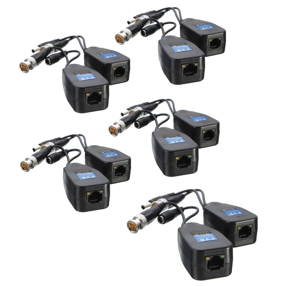 5 pares de cctv coaxial bnc vídeo power balun transceptor para cat5e 6 rj45 conector hj55