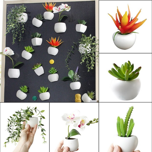 3d Fridge Sticker Magnetic Succulent Plant Fridge Magnet Sticker Bouquet Flower Fridge Potted Plant Sticker For Home Wall Decor 1