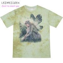Tie-Dye Kurzarm T-Shirt Hip-Hop Lose Harajuku Stil Kurzen Ärmeln Paar T-Shirt Gradienten Weibliche Elf gedruckt T-Shirt Top