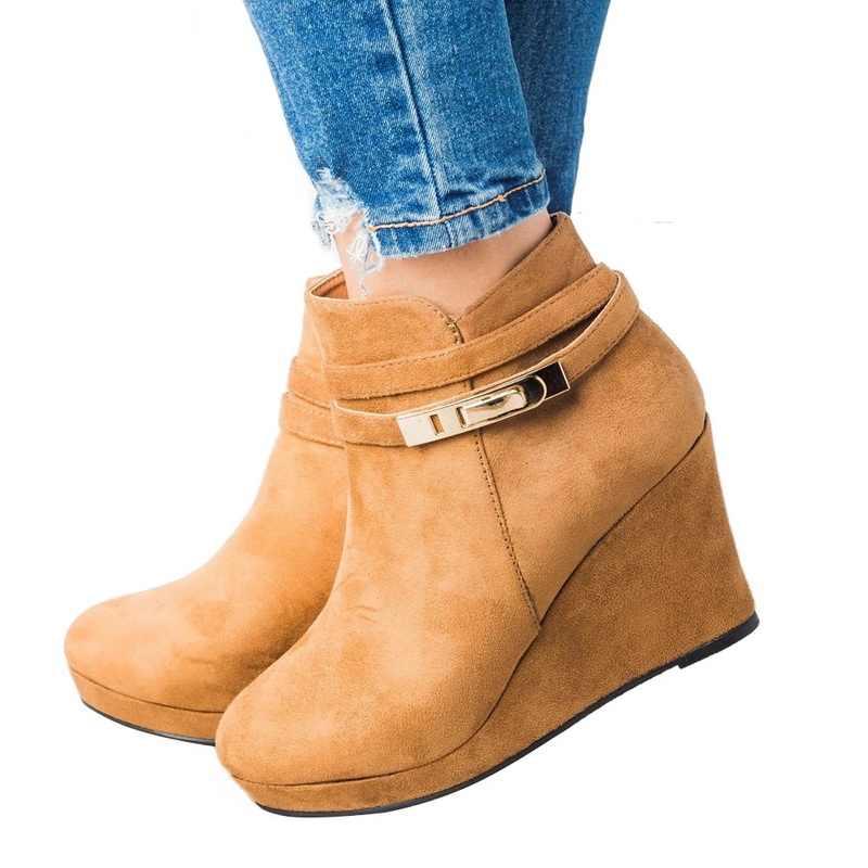 WENYUJH WEDGE BOOT รองเท้าส้นสูงผู้หญิงรองเท้าบูทรอบ Toe ข้อเท้า Zip รองเท้าแพลทฟอร์มหญิง Boot รองเท้า Wedges รองเท้าผู้หญิงฤดูหนาว