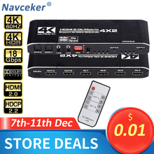 Navceker 18.5 Gbps HDMI מטריקס 4x2 4K @ 60Hz HDMI מתג ספליטר עם SPDIF ו l/R 3.5mm HDR HDMI מתג 4x2 תמיכת HDCP 2.2 3D