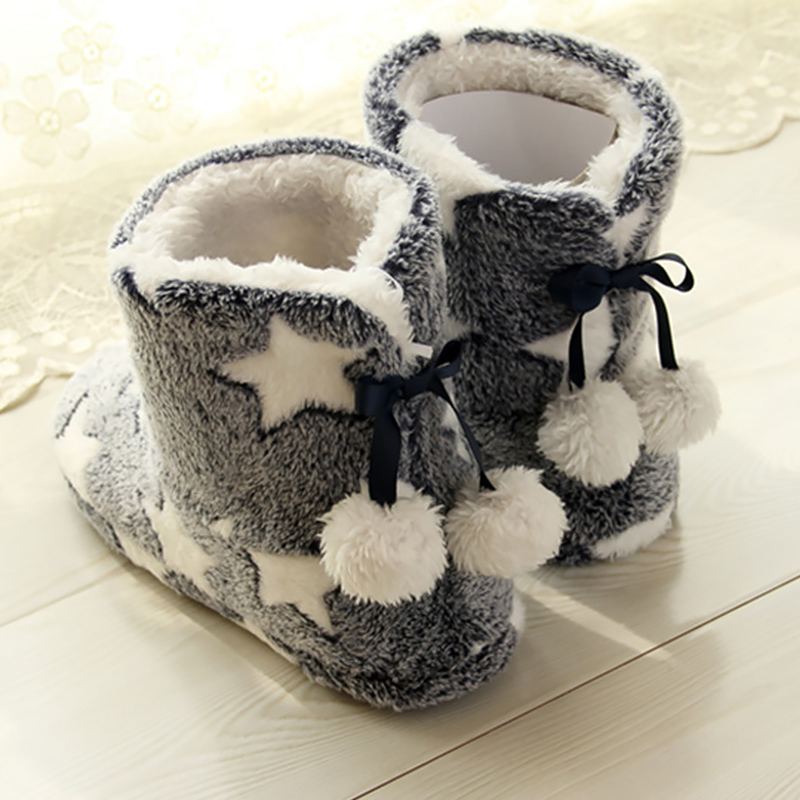 Winter slippers women Plush Warm Home slippers Flock Star Pattern Soft slippers Indoor Floor Non slip House Slippers 2020 New