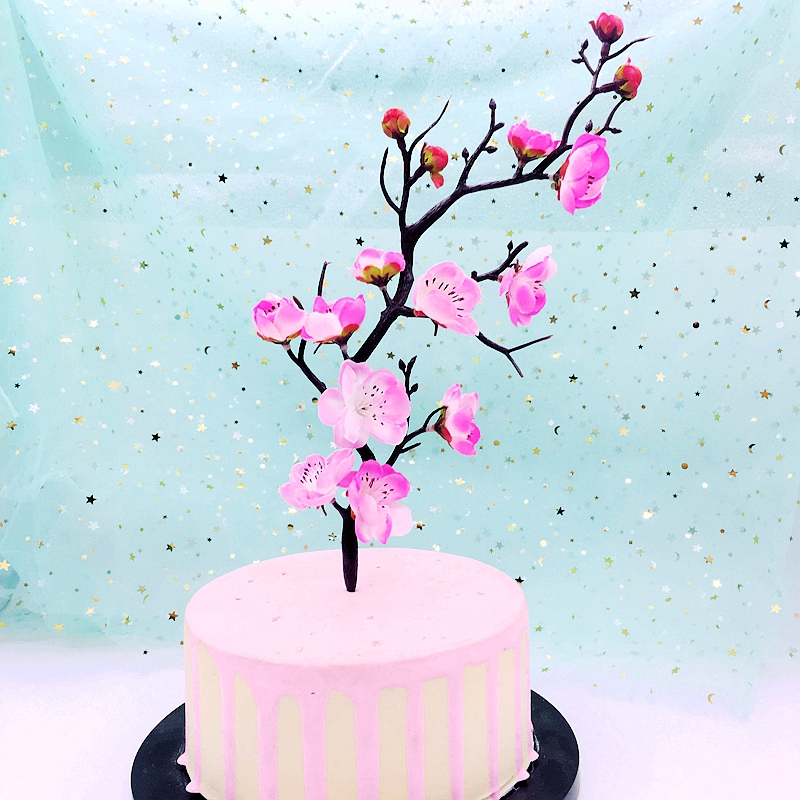 Brilliant Birthday Party Cake Toppers Artificial Red Plum Blossom Fake Funny Birthday Cards Online Chimdamsfinfo