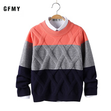 GFMY 2019 Autumn Winter Fashion O-Collar Three-Color Stitching Sweater For Boys Warm wool 5-14 year Coat Kids Sweaters