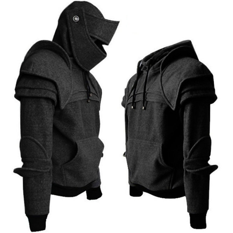 Autumn Black Knight Mask Hoodies Sweatshirt Men Armor Knee Sweater Vintage Warrior Soldier Cosplay Costumes Top Jacket Coat